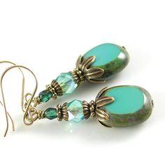 Turquoise Blue Earrings Czech Glass in Vintage by DorotaJewelry, $27.00
