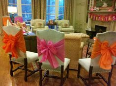 Chair bows made out of plastic tablecloths - cute and inexpensive, and they hold their shape!