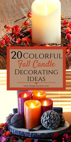 Quit dreaming of a cozy fall getaway.  Instead, create one at home!  Achieve a warm, colorful fall aesthetic in your space with these fall candle decorating ideas.  Includes fall Old Candles, Black Candles, Flameless Candles, Autumn Display, Fall Displays, Led Light Design, Thanksgiving Centerpieces, Fall Scents, Luxury Candles