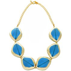 KENNETH JAY LANE Ocean Gold Scraped Stones Necklace ($205) ❤ liked on Polyvore