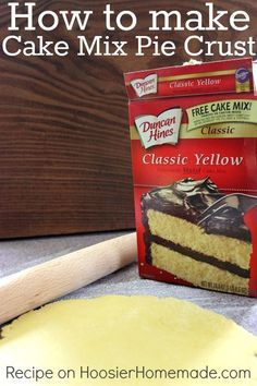 Learn how to make a pie crust from a cake mix. The flavor options are amazing! Click through on the photo for the recipe.