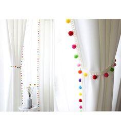 Pom Pom Blackout Curtains Kids Blackout Curtains White Blackout Curtains Kids Curtains Bedroom Curtains Tassels My Colorful Kids Blackout Curtains, Kids Curtains, Cool Curtains, Curtains With Rings, White Curtains, Kitchen Curtains, Nursery Curtains, Curtains With Tassels, Bathroom Curtains