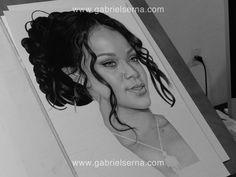 Rihanna, pencil drawing by Gabriel Serna. http://www.gabrielserna.com