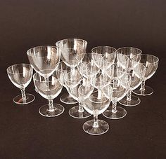 Glasses of the service Reforme 15x wine small)- 12x high 10,5 cm bourgogne- 2x high 12,4 cm port glass 1x high 9,8 cm design Gerard Muller / Amsterdam ca.1925 executed by Val St Lambert / Belgium