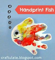 Craftulate Handprint Fish and other ocean crafts Ocean Crafts, Fish Crafts, Baby Crafts, Dinosaur Crafts, Infant Crafts, Toddler Crafts, Bible School Crafts, Daycare Crafts, Preschool Crafts