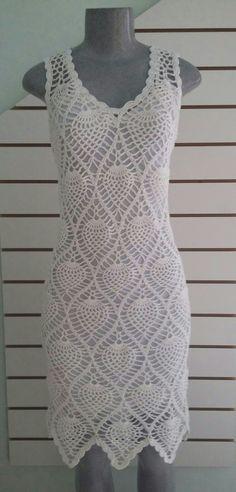 Vestido de crochê da Renata  (7) Crochet Shirt, Crochet Bikini, Knit Crochet, Crochet Designs, Crochet Patterns, Crotchet Styles, Pineapple Crochet, Boho Style Dresses, Crochet Woman