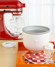 KitchenAid KICA0WH Ice Cream Maker Stand Mixer Attachment - Stand Mixers & Attachments - Kitchen - Macy's  $80 on sale!