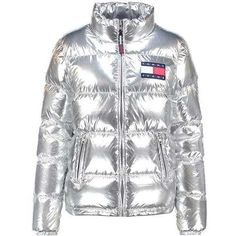 Tommy Hilfiger Silver Down Puffer Jacket via Polyvore featuring outerwear, jackets, silver puffer jacket, puffy jacket, puffer jacket e silver jacket