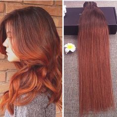 59.14$  Buy here - http://ali7f5.worldwells.pw/go.php?t=32709043865 - Full Shine Ombre Color 4/ 350 Two Tone Clip in Hair Extensions 100g/ Set Brazilian Real Hair Clip in Human Hair Extensions