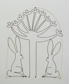 Hares in love under an allium flower. Wire doodle by spacefruit