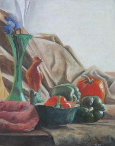 Still Life with Peppers & a Bird..... Soft pastel