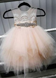 Buy discount Cute Tulle Jewel Neckline Tea-length Ball Gown Flower Girl Dresses With Lace Appliques at Dressilyme.com