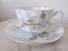 Asian teacup and saucer  Japanese landscape tea cup ~ hand painted ~ vintage tea cup ~ occupied Japan