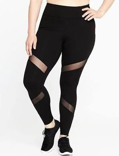 Old Navy Womens High-Rise Plus-Size Mesh-Trim Leggings Black Size 1X