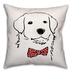 "East Urban Home Dog with Polka Dot Bow Tie Throw Pillow Size: 20"" x 20"", Type: Throw Pillow"