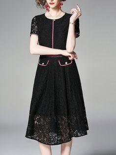 bb64bd04af0 Stylewe Formal Dresses Sundress Daily A-Line Crew Neck Pockets Short Sleeve  Elegant Dresses