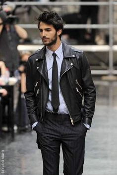 this look // // leather jacket, tie, pinstripe pants with www. Leather Jacket Outfits, Men's Leather Jacket, Leather Men, Jacket Men, Custom Leather, Black Leather Jackets, Riders Jacket, Lambskin Leather, Mens Fashion Blog