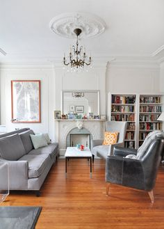 Sarah & David's Modern and Sophisticated Brooklyn Home--white walls