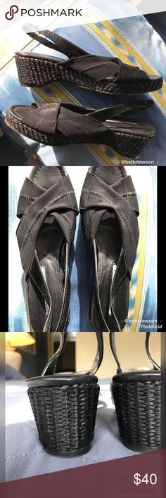 🆕Donald J. Pliner Wedge Sandals Size 10 Style and comfort meet superior quality and construction. These gorgeous sandals by Donald J. Pliner have a comfortable stretch band and patten leather backstrap. Leather bottoms were scuffed up to avoid slipping. Excellent condition. Bundle and save!🛍 Donald J. Pliner Shoes Sandals