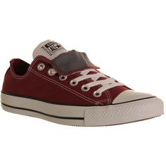 Converse Allstar Low Double Tongue ($37) ❤ liked on Polyvore featuring shoes, sneakers, converse, footwear, trainers, maroon white grey, unisex sports, sports trainer, maroon shoes and low shoes