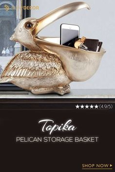 This special pelican statuette will make a splendid addition to your house with a magical artistic touch. It brings a wonderful combination between utility and style so you can fully express practically and taste in one stroke.