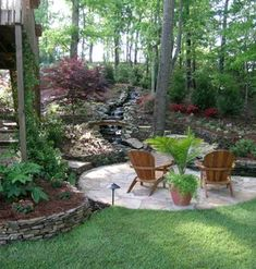 hardscaping-trends-landscaping-with-stone-rock-i-would-love-to-create-a-floor-under-my-apple-tree-for-my-table-and-chairs. Hillside Landscaping, Landscaping With Rocks, Outdoor Landscaping, Outdoor Gardens, Landscaping Ideas, Wooded Backyard Landscape, Landscaping Melbourne, Landscape Design, Garden Design