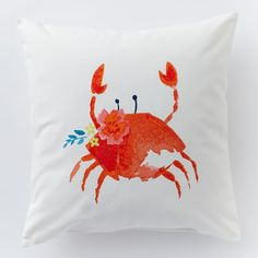 """Summer Throw Pillow at West Elm """"Charlotte the Crab"""""""