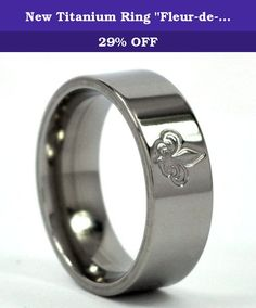 "New Titanium Ring ""Fleur-de-Lis"" Bands Jewelry, NFL Rings, Saints Ring. This is a comfort fit ""Fleur-de-Lis"" band that is custom made to order with Aerospace Grade Titanium! A Polish finish gives this ring the perfect finishing touch! This rings quality is unmatched! We have a satisfaction guarantee so be sure to get the details."