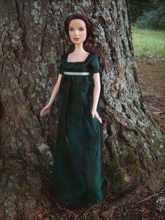 Dark Emerald 1810 Regency Ball Gown for Barbie Dolls Jane Austen - this is gorgeous! Stardust dolls (ebay)