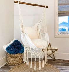 JUNIOR Macrame Natural Off White Hammock Swing Chair Pillows BOHO STYLE Hanging Chair : Junior indoor and outdoor hammock chair. Handcrafted from soft cotton canvas! The perfect hanging chair for your bedroom or cozy corner. Swing Indoor, Indoor Hammock, Hammocks, Hammock In Bedroom, Bedroom Swing Chair, Outdoor Bedroom, Swing Chairs, Outdoor Living, Chairs For Bedrooms