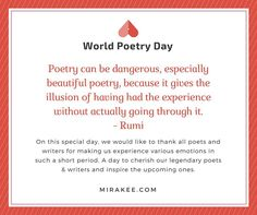 Happy World Poetry Day to you all ! Keep sharing your feelings thoughts and emotions ! Keep Mirakeeing ! #writers #poems #poets #poetry  #writerscommunity #creativity #expressyourself #writersofinstagram #poet #poem #quotes #quote #quoteoftheday #quotestagram #poetsofinstagram #poemsofinstagram #quotestagram #wordporn #writing #writer #mirakee #writersnetwork