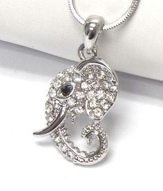 NEW Cute White Gold Plated Crystal Stud Elephant Head Eye Pendant Charm Necklace