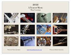2021 Calendar, Music Calendar, 2021 Photography Calendar, Musical Instrument, 2021 Wall Calendar, Guitar Trumpet Clarinet Violin Music Gift