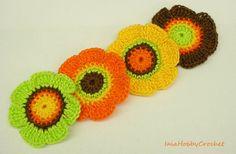 4 Crochet Flowers applique, Crochet Appliques, Crochet Flower, Crochet Embellishments set of 4 - READY TO SHIP