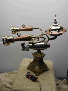 - The HSM Enterprise Table Lamp by Joe Keller steampunk! Steampunk Kitchen, Lampe Steampunk, Art Steampunk, Steampunk Gadgets, Steampunk Cosplay, Steampunk Fashion, Steampunk Clothing, Steampunk Motorcycle, Steampunk Weapons
