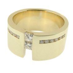 Yellow Gold Princess & Round Brilliant Cut Diamond Ring, handmade at Cameron Jewellery Diamond Rings, Wedding Rings, Jewellery, Engagement Rings, Princess, Yellow, Winter, Gold, Handmade