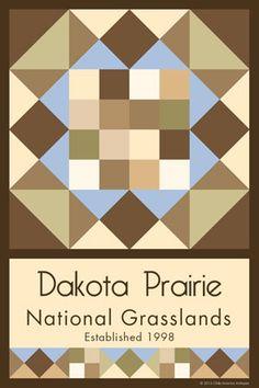 Olde America Antiques | Quilt Blocks | National Parks | Bozeman Montana : Devils Tower National Monument - Dakota Prairie National Grasslands Quilt Block