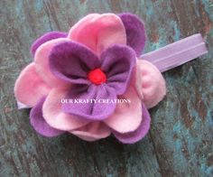 Felt Flower, Baby Headband, Flower Headband, Lotus Flower, Felt Headband, Baby Shower Gift by OurKraftyCreations on Etsy