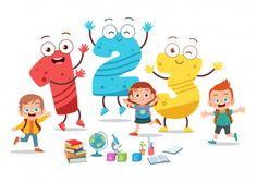 Cartoon kids with 123 numbers Premium Vector Cartoon Books, Cartoon Kids, Music For Kids, Art For Kids, Measurement Kindergarten, Kids Background, School Clipart, Video X, Kids Study