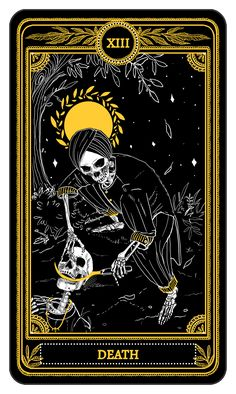 The Marigold Tarot  Major Arcana: Death  Amrit Brar 2017  Currently funding on Kickstarter, from September 18th-October 17th, 2017. Ships February 2018.  | instagram: @amrit.s.brar | support on patreon | the rest of the deck |