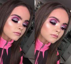 Purple Glitter Eye look | Pink Purple Eyeshadow | Bold Eye look | Glitter a Eyes | Glowy Skin | Bronze Contour #glitter #eyes #makeup Pin: @amerishabeauty