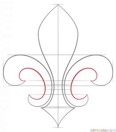 How to draw a Fleur-de-Lis step by step. Drawing tutorials for kids and beginners.