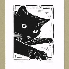 LittleRamStudio. Black Cat Mousing - Linocut