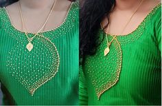 Beads work in churidar top Chudidhar Neck Designs, Kids Blouse Designs, Neck Designs For Suits, Dress Neck Designs, Hand Embroidery Dress, Kurti Embroidery Design, Embroidery Neck Designs, Embroidery Fashion, Salwar Suit Neck Designs