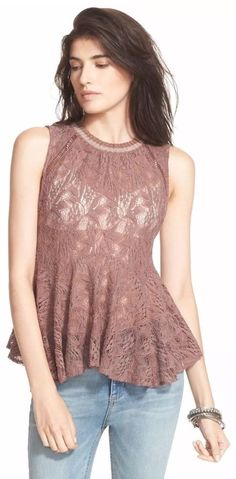 NWT FREE PEOPLE Med MASIE LACE SLEEVELESS CREWNECK TANK TOP RASPBERRY $88 Flare #FreePeople #Blouse #Casual