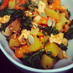 miso curry squash with tofu and kale