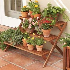 Tiered wood plant stand
