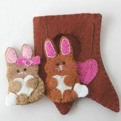 wool felt love bunnies