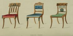 1814 - Parlor Chairs (come and sit for a while but don't stay too long) In some cases, 15 minutes was considered the appropriate length of a visit. EKDuncan - My Fanciful Muse: Regency Furniture 1809 Ackermann's Repository Series 1 Vintage Furniture Design, Regency Furniture, Luxury Furniture Brands, Regency Era, Historical Images, Miniature Houses, Interior Decorating, Decorating Ideas, Antiques