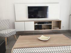 Meuble TV suspendu avec panneau MDF peint en blanc caisson Spaceo Leroy Merlin